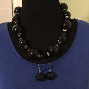 Jewelry - Black statement necklace and earrings